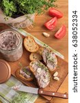 bean pate with garlic and thyme ... | Shutterstock . vector #638052334