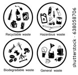 waste types icon set ... | Shutterstock .eps vector #638058706