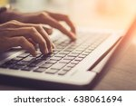 woman using laptop  searching... | Shutterstock . vector #638061694