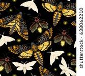 flying moths seamless | Shutterstock .eps vector #638062210
