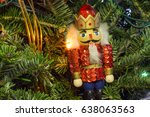 christmas tree with nutcracker... | Shutterstock . vector #638063563