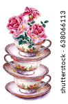 party colorful tea cups and... | Shutterstock . vector #638066113