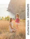 mother and daughter on a... | Shutterstock . vector #638068690