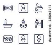 washroom icons set. set of 9... | Shutterstock .eps vector #638069146