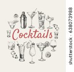 set of sketch cocktails and... | Shutterstock .eps vector #638073988