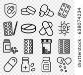 pill icons set. set of 16 pill... | Shutterstock .eps vector #638074234