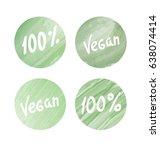 labels in green circles. vegan | Shutterstock .eps vector #638074414