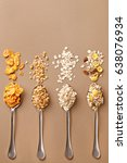 spoons of various cereals view... | Shutterstock . vector #638076934