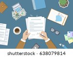businessman signing a document. ... | Shutterstock . vector #638079814