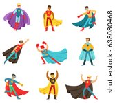 male superheroes in classic... | Shutterstock .eps vector #638080468
