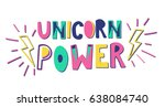 unicorn power vector... | Shutterstock .eps vector #638084740