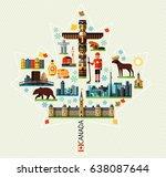 vector set of various canada... | Shutterstock .eps vector #638087644