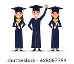vector cartoon student girl ... | Shutterstock .eps vector #638087794