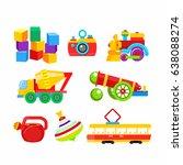 set of vector children's toys.... | Shutterstock .eps vector #638088274