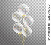 bunch of transparent balloon on ... | Shutterstock .eps vector #638090710
