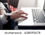 a young businessman touches the ... | Shutterstock . vector #638095678