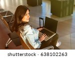 woman waiting his flight at... | Shutterstock . vector #638102263