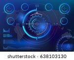futuristic blue virtual graphic ... | Shutterstock .eps vector #638103130
