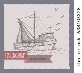 fishing boat with nets sketch.... | Shutterstock .eps vector #638106328