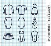 set of 9 accessories outline... | Shutterstock .eps vector #638113054