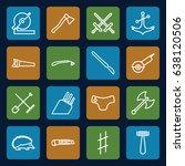 sharp icons set. set of 16... | Shutterstock .eps vector #638120506
