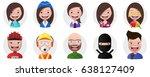 set of avatars  positive... | Shutterstock .eps vector #638127409