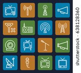 broadcast icons set. set of 16... | Shutterstock .eps vector #638128360