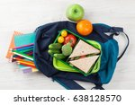 lunch box with vegetables and... | Shutterstock . vector #638128570