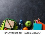 lunch box with vegetables and... | Shutterstock . vector #638128600