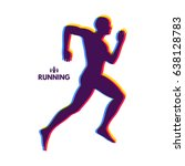 silhouette of a running man.... | Shutterstock .eps vector #638128783
