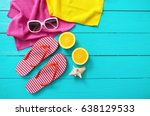summer fun time and accessories ... | Shutterstock . vector #638129533