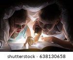 children bedtime. sister and...   Shutterstock . vector #638130658