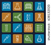 experiment icons set. set of 16 ... | Shutterstock .eps vector #638132020
