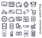 screen icons set. set of 25... | Shutterstock .eps vector #638137936