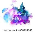 abstract painted splash shape... | Shutterstock .eps vector #638139349