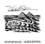 egyptian pyramids in the desert ... | Shutterstock . vector #638149990