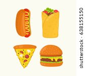 hot dog  burrito  pizza  burger ... | Shutterstock .eps vector #638155150