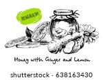 honey with ginger and lemon in... | Shutterstock .eps vector #638163430