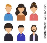 faces of the people set  vector ... | Shutterstock .eps vector #638164354