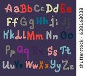 hand drawn alphabet. brush... | Shutterstock .eps vector #638168038