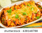 homemade chicken enchiladas... | Shutterstock . vector #638168788