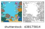 underwater world with corals ... | Shutterstock .eps vector #638175814