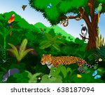 rainforest with animals vector... | Shutterstock .eps vector #638187094