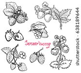 set strawberry. hand drawn ... | Shutterstock .eps vector #638189644