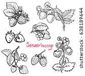 Set Strawberry. Hand Drawn ...