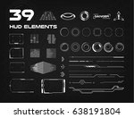 set of black and white hud ui... | Shutterstock .eps vector #638191804