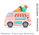 ice cream van. retro bus... | Shutterstock .eps vector #638192158