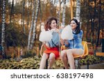 three stylish girls walking... | Shutterstock . vector #638197498