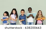 Group of diverse kids reading...