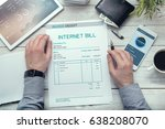 internet bill  invoice on the... | Shutterstock . vector #638208070